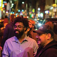 Rex Theater owner Ben Penigar (right) with Jusitn Landers outside the venue