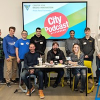 CP photographer/videographer Jared Wickerham, Pittsburgh City Podcast host Paul Guggenheimer and CP editor Lisa Cunniningham with students from Connellsville Area High School