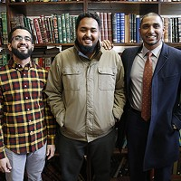 Islamic Center of Pittsburgh staff members Mohamed Sajjad and Koshin Yusuf with executive director Wasi Mohamed