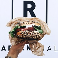 A bagel sandwich from Pigeon Bagels during a pop-up at Radiant Hall in Lawrenceville