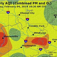 Air Quality Index map of the Pittsburgh region taken at 10:20 a.m.