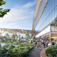 An artist's rendering of the transformed airport plaza
