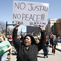 Protesters march through Downtown Pittsburgh on Sat., March 23.