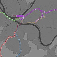 Mock-up of how the busways could be marketed, with the Purple Line going east and the Green Line going west.