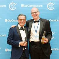 Pittsburgh artist Wayno celebrates with Reuben Award winner Rob Rogers