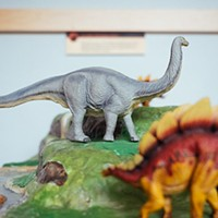 An interactive display featuring model dinosaurs