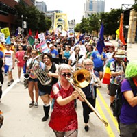 Musicians accompanied the People's Pride march as they crossed into the North Shore.