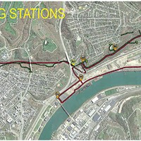 Proposed route of Mon-Oakland Connector with hailing stations