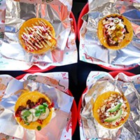 An assortment of tacos (L-R, top to bottom): Spicy shrimp, carne asada, Korean steak, and carnitas