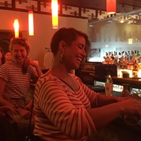 Sara Innamorato pours sake at the Waterworks Ichiban Hibachi & Sushi Bar