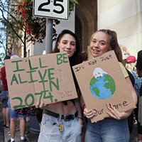 "Billie Salvucci, 16, and Scarlott Burns, 16, skipped school to participate in the Climate Strike. ""I go to a lot of protests, but to me this is the most important one because nothing else will really matter if the world dies. I think this is my top priority at the moment,"" Salvucci said."