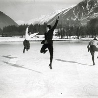 """""""Albert Heïdé, Francis Pigueron and Ostertag. Chamonix, January 1918,"""" from <i>Fast Cars and Femmes Fatales</i>, at the Frick Art & Historical Center"""