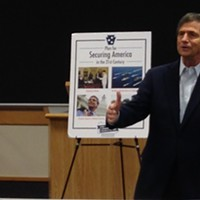 U.S. Senate candidate Joe Sestak discusses link between climate change and national security during a visit to Pittsburgh