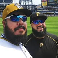 "A selfie by Demitrius Thorn ""Fake Pedro"" (left) with Pedro Alvarez"