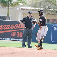 Josh Harrison on the field during a spring-training game against the Orioles