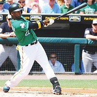 Andrew McCutchen in green for St. Patrick's Day at Pirates spring training
