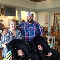 Pear & The Pickle owners Alexis Tragos and Bobby Stockard with their 2-month-old twins