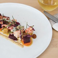 Poached lobster: red and gold beets, pickled butternut squash and roasted carrots