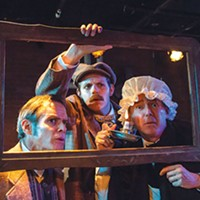 From left: James FitzGerald, Connor McCanlus and David Whalen in Kinetic Theatre's <i>The Hound of the Baskervilles</i>