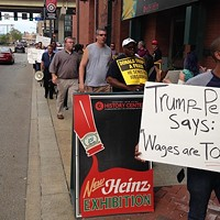 Pittsburgh group protests vice-presidential nominee Mike Pence's workers'-rights history and policies