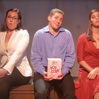 Stephanie Ottey (<i>at left</i>), Ryan Kearney and Jamie Pasquinelli in <i>Little by Little</i>, at South Park Theatre