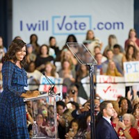 First Lady Michelle Obama speaks before a throng of supporters at the University of Pittsburgh