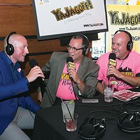 "Fashion designer David Alan, with John ""Ya Jagoff"" Chamberlain and co-host Craig Tumas at the ""Real Men Wear Pink"" podcast event on Fri., Sept. 30, at Jerome Bettis Grille 36"