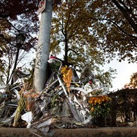 Susan Hicks ghost bike on Forbes Avenue in Oakland