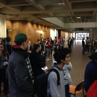 Pitt students waiting to vote this morning at Posvar Hall