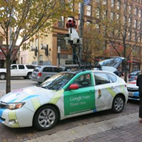 Google Street View car equipped with methane sensor (the methane sensor is in the trunk; the device on top is a Street View camera)
