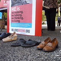 Shoes representing those housebound by ME/CFS
