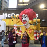Protesters outside the Stanwix Street McDonald's