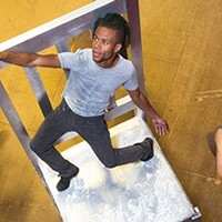 """Anthony Williams (foreground) rehearses Attack Theatre's """"Unbolted"""""""