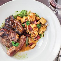 Jamison Farm lamb chops and gnudi, with fennel, leaks, sage, bacon, lamb sausage and pesto