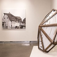 "At left, Seth Clark's ""Barn III""; at right, Clark and Jason Forck's ""Glass Rooftop"""