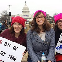 Kara Kernan, Holly Anderton and Marie Rivera-Johnson, all from Pittsburgh, rallied with their signs at the Women's March on Washington.