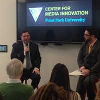 Bill Peduto (left) talking to students at Point Park University