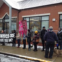 Protesters outside Dom Costa's office in Morningside