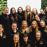 Seton-LaSalle girls-basketball head coach Whitney Jones (top row, far right) with her assistant coaches and team at the Teams We Love launch event.