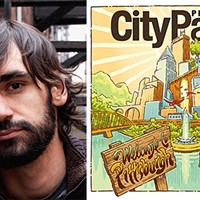 Pittsburgh artist Joe Mruk with his<i> City Paper </i>cover illustration