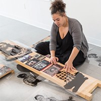 Pittsburgh artist Alisha Wormsley works on her piece for AIR's Active Voice, a project in response to the new administration.
