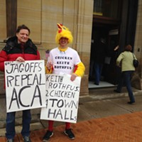 Darwin Leuba (right) says U.S. Rep. Keith Rothfus is a chicken for not holding a town hall.