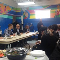 Developers and elected officials meet with Lincoln-Lemington residents at Pearson Recreation Center on March 11.