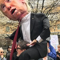 Steve O'Hearn operates his Donald Trump puppet