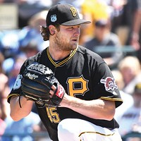 Gerrit Cole during a Pirates preseason game in Brandenton, Fla.