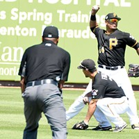 Pittsburgh Pirates outfielder/first baseman Jose Osuna fires the ball to the infield after making a catch during a March 23 preseason game