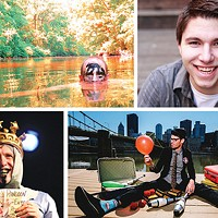 Pittsburgh Fringe acts, clockwise from upper left: <em>One Man Apocalypse Now</em>, magician Cody Clark, <em>The Seven Suitcases of a Snake Oil Salesman</em> and<em> Cockatrice</em>