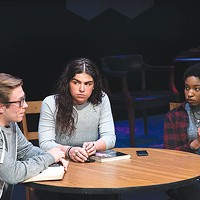From left: Charles Kronk, Sophia Rodriguez and Maya Boyd in <i>Baltimore</i>, at Pitt Stages.