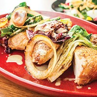 Wood-roasted Locust Point chicken with hearty greens, sweet onion salad and <i>schmaltz</i> vinaigrette