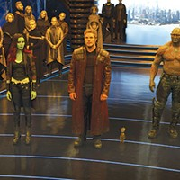 Checking in: Gamora (Zoe Saldana), Peter Quill (Chris Pratt), Baby Groot, Drax (Dave Bautista) and Rocket